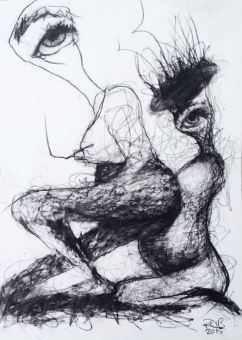 Jan 15 2015 Daughter Birthing Mother by Ruth Chase Sketch on Paper